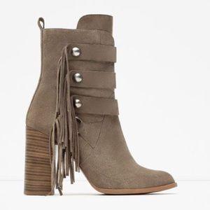 Zara Fringe Heeled Boots. Never Worn. Size 41